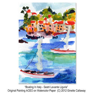 ACEO Watercolor Painting Boating in Italy Liguria by Ginette Callaway