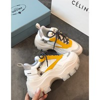 Prada Leather And Nylon Sneakers White/yellow - Best Online Sale