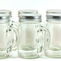 Mason Jar Mugs- 6 Glass 16 Ounce Mason Jars with Handle and Cap
