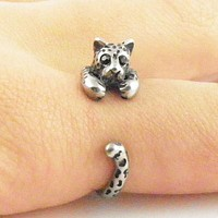 Animal Wrap Ring - Leopard - White Bronze - Adjustable Ring - keja jewelry