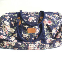 Vintage floral revival overnight carry on duffle bag / fabric suitcase