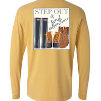 'Step Out & Find Adventure' Comfort Colors Long Sleeve
