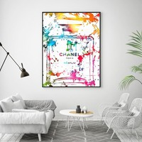Morden Decor Abstract Perfume Bottle Wall Art Canvas Paintings Colorful COCO Wall Pictures For Living Room A4 Posters and Print