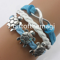 turtle tortoise & infinity karma Charm Bracelet Antique silver-- cotton ropes braid Leather bracelet,the best friendship gift.980