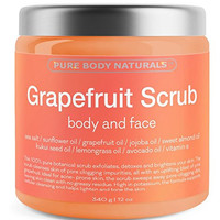 Grapefruit Scrub for Face and Body - Facial Scrub Exfoliator Cleans Acne-Prone Pores and Brightens Complexion - Body Exfoliator Detoxes and Protects Skin - With Grapefruit Oil, Sea Salt, and Vitamin E
