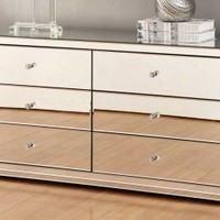 VEGAS Mirrored Dressing Table or Low Chest 6 Drawers - Mirror Furniture