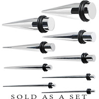 9 Piece Ear Taper Stretching Kit in Stainless Steel | Body Candy Body Jewelry