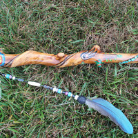 Native American Talking Stick - Inlaid with turquoise