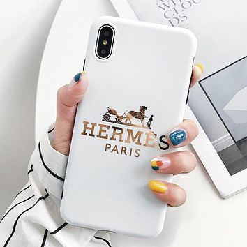 Hermes Fashion New Letter Horse Print Women Men Phone Case Protective Cover White