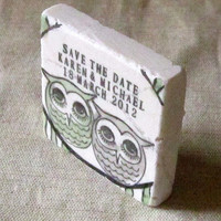Cozy Owl Save The Date Magnets - Gray and Sage Green Wedding Favors - Set of 25