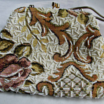 Bohemian Hippie Boho Small Beaded Tapestry Evening Bag Purse by Ernest Simon Ladies Clutch