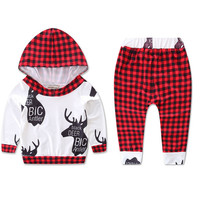 Toddler Kids Baby Boys Girls Deer Outfits Clothes Hoodie Sweater Tops+Pants 2pcs set newborn baby boy clothes sets