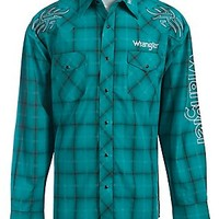 Wrangler Turquoise Plaid Logo Embroidery Long Sleeve Western Shirt MP1264MX- Big & Talls