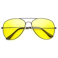 Unisex Aviator Sunglasses With UV400 Protected Glass Lens