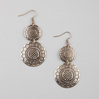 Full Tilt 2 Tiered Round Stamp Earrings Gold One Size For Women 23473462101