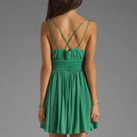 BB Dakota Edie Gathered Crinkle Chiffon Dress in Dark Mint from REVOLVEclothing.com