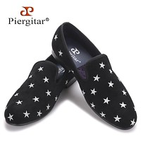 new style Handmade men velvet shoes with star embroidery Party and Wedding men loafers male smoking slippers