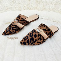 Bella Leopard Slip On Summer Flats Mule Slippers Sandals Clogs 6-10