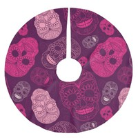Day of the Dead Mosaic Art Pink & Purple Brushed Polyester Tree Skirt