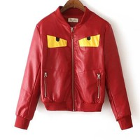 FENDI Autumn Winter Fashion Women Casual Leather Long Sleeve Zipper Cardigan Jacket Coat Red