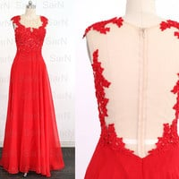 Lace Chiffon Long Prom Dresses, Couture Red Chiffon  Long Formal Dress, Straps Long Lace Chiffon Red Prom Gown