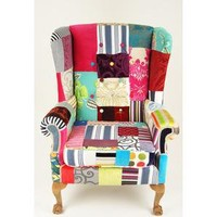 Kelly Swallow Grand wing back patchwork chair