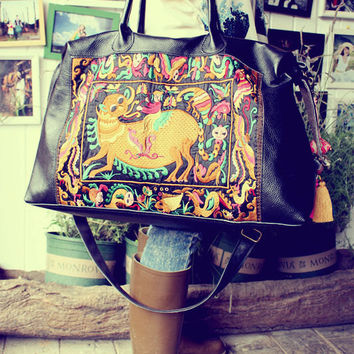extra big  tote bag-Hmong backpack/Tribal style, with new embroidered piece