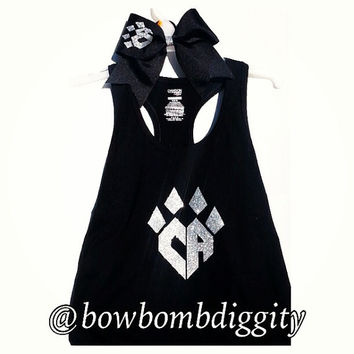Cheer athletics bow and tank practice wear glitter