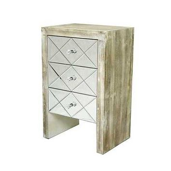 """17.7"""" X 13"""" X 28"""" White Washed MDF Wood Mirrored Glass Accent Cabinet with Mirrored Glass Drawers"""
