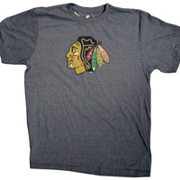 Chicago Blackhawks Pigment Red Big Time Play Heathered NHL Tee Shirt by Majestic  Large