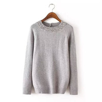 Beaded Neck Button-Back Long-Sleeve Knitted Sweater