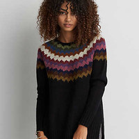 AEO Patterned Pullover Sweater , Black