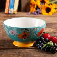 "The Pioneer Woman Flea Market 6"" Decorated Footed Bowls, Turquoise & Yellow, Set of 4 - Walmart.com"