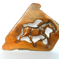 """Wood Carving Horse Rustic Driftwood Reclaimed Hand Carved Teak Wood Natural Wild Horse Wall Hanging Art Home Decor / Gift 19"""" x 14"""""""