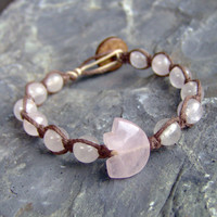 Hemp Bracelet  Brown w/ Rose Quartz Gemstone  by KnottyandNiceHemp