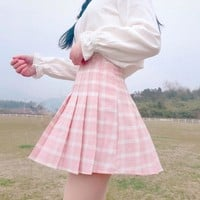 New Spring High Waist Plaid A-line Skater Skirts Harajuku Tutu Skirt Japanese School Uniform Kawaii Harajuku Mini Pleated Skirt