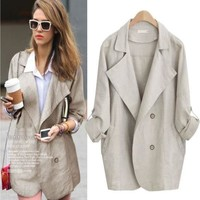 Plus Size Women's Fashion Stylish Blazer Windbreaker [196916936730]
