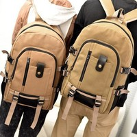 Fashion Leisure Men's Backpack Strap Zipper Solid Color Casual Canvas Backpack School Bag For Teen Girls And Boys
