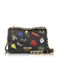 Moschino Black Leather Shoulder Bag w/Pins