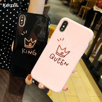 Trendy Kerzzil Glossy Letters Phone Case For iPhone 6 6s Plus King Queen Back Cover Love Heart Soft TPU Cases For iPhone X 8 7 6S Plus AT_94_13