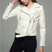Long sleeves womens jackets 2017 black beige white leather clothing slim motorcycle leather jacket women outerwear coats winter