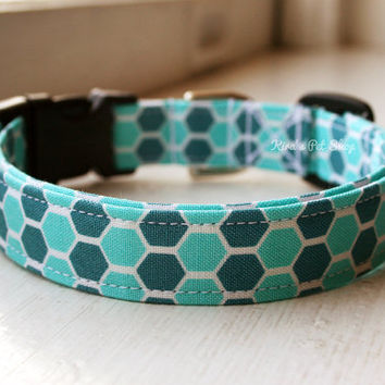 Handmade Dog/Cat Collar - Teal Blue Turquoise Honeycomb Boy Dog Collar Adjustable Fabric Dog Accessory Pet Accessories Breakaway Cat Collar