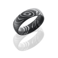 Damascus Steel 7mm Wide Domed Wedding Band