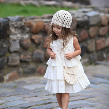FREE SHIPPINg use coupon code FREESHIP /Girls ivory dress D23 summer cotton birthday baby infant bow ruffles flower girl dress /hmet/rusteam
