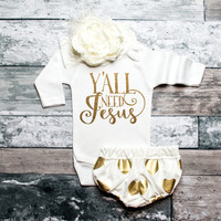 Baby Girl Clothes Y'all Need Jesus Shirt Shirt Glitter Shirt Baby Shower Gift Bodysuit Baby Girl Shirt *Bodysuit Only* #48