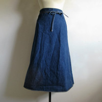 Vintage WRAANGLER Wrap Skirt 1970s Blue Denim Jean Cotton 70s Wrap Around Skirt Large