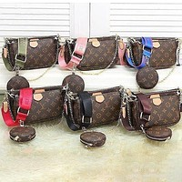 Louis Vuitton LV Women Fashion Leather Crossbody Shoulder Bag Satchel Three Piece Set