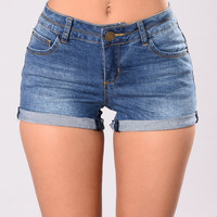 Twerk Out Shaping Denim Shorts - Medium Stone Wash