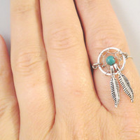 Dream Catcher Ring with Feathers
