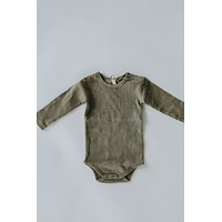 Quincy Mae: Organic Ribbed Long Sleeve Onesuit (Olive)